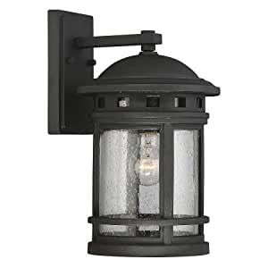Incandescent Outdoor Wall Lantern,Glass, Metal Wall Lantern,Black,9W x 10.5D x 15.5H in.