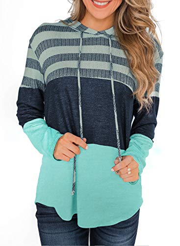 Lovezesent Women's Casual Loose Pullover Sweatshirts for Leggings Green Striped Colorblock Pullover Hoodie Top with Sleeve Small