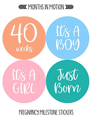 Months In Motion Pregnancy Weekly Belly Growth Stickers | Week to Week  Pregnant Expecting Photo Prop | Maternity Keepsake | Baby Bump | Large Set  of