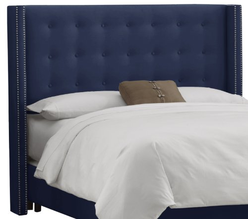Skyline Furniture Nail Button Tufted Wingback King Headboard in Velvet Navy - Tufted Wing