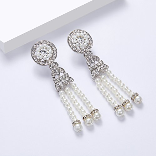 BABEYOND 1920s Flapper Art Deco Gatsby Earrings 20s Flapper Gatsby Accessories (Style 4-Silver) by BABEYOND (Image #4)