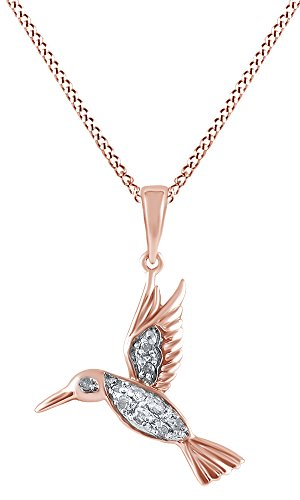 Diamond Hummingbird Pendant (Jewel Zone US 14k Rose Gold Over Sterling Silver White Natural Diamond Hummingbird Pendant Necklace (0.1 Ct))