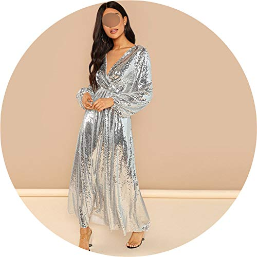 Price comparison product image All-About-Us Going Out Silver Bishop Sleeve Wrap Front Sequin V Neck Fit and Flare Long Sleeve Dress Elegant Dresses, Silver, XS