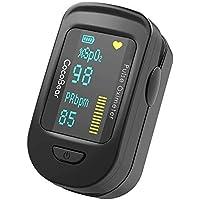 CocoBear - Oxímetro de Pulso con Monitor de Saturación de Oxígeno Sanguíneo con Bolsa de Transporte, Baterías y Cordón