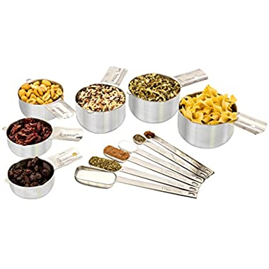 Stainless Steel Measuring Cups and Spoons ★ 12-Piece Stackable Set ★ 6 Cups & 6 Spoons to Measure Dry and Liquid Ingredients by Acutos