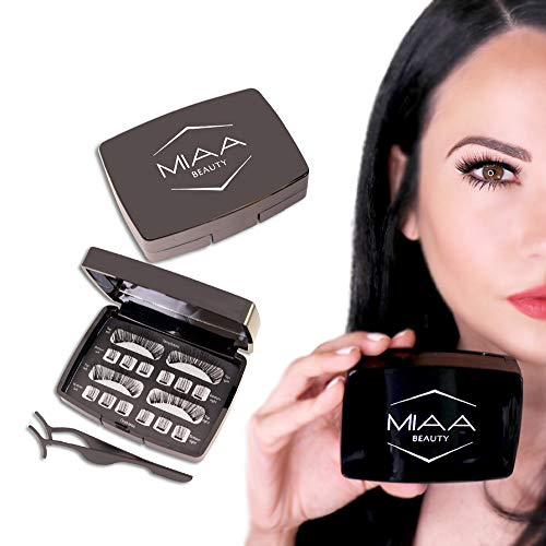 Full Eye Natural & Bold [ 2 Sets Triple Piece Magnetic Eyelashes] 100% Premium Hand Made Silk False Lashes with Free Applicator & Mirror Case - Glue Free Non-Allergic Reusable & Lightweight
