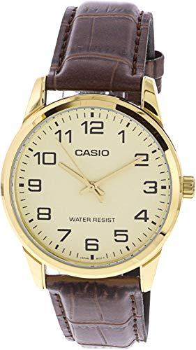 Leather Genuine Quartz - Casio Men's Mtp-v001gl-9b Quartz Watch with Genuine Leather