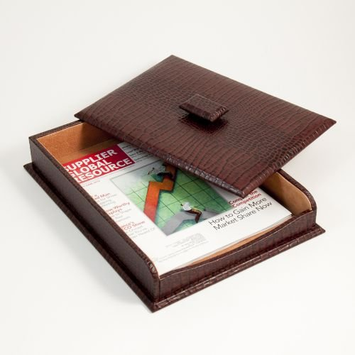 Bey Berk Letter Tray With Cover Brown ''croco'' Leather by Bey-Berk International Inc