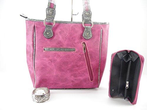 Concealed Carry Gun Weapon Sugar Skull Pirate Purse Wallet Bracelet Set Pink Jp