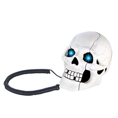 FidgetFidget Wired Telephone Home Office Décor Unique LED Skull Skeleton Shaped Land Line New from FidgetFidget