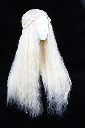 Angelaicos Fluffy Cosplay Wigs for Game of Thrones Daenerys Targaryen Long (Hook Wig)