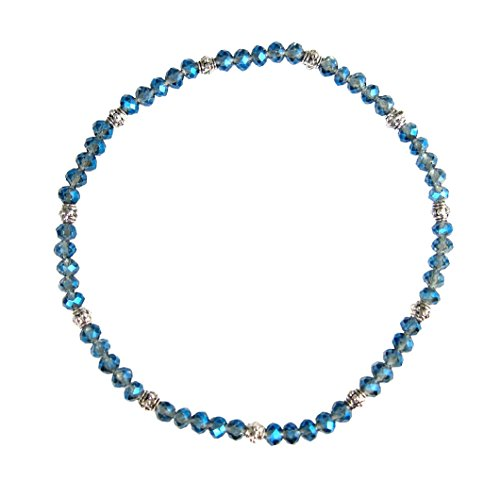 Stretch Bead Anklet Bracelet Anklet - Denim Blue (A33)