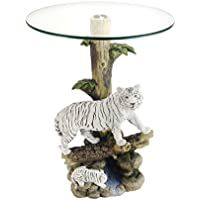 OK Lighting OK-0732N Animal Sculpture End Table 24 H Glass Top Color Sculpture End Table - Tiger