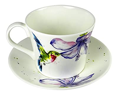 Roy Kirkham Breakfast Tea Cup and Saucer Set Fine Bone China Hummingbird England