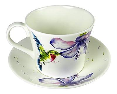 Roy Kirkham Breakfast Tea Cup and Saucer Set Fine Bone China Hummingbird England