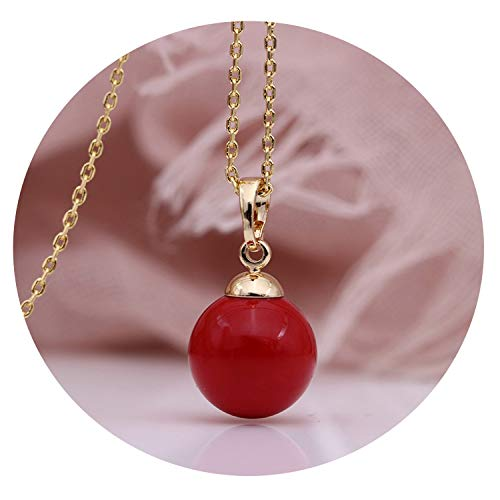 (victoriasong Fine Coral Red Shell Pearls Long Necklaces 585 Rose Gold Women Party Simple Fashion Jewelry Wedding Round)