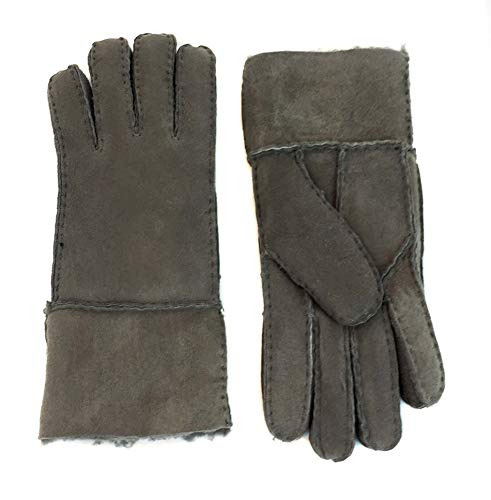Surell Women's Sheepskin Shearling Glove - Winter Mittens - Cold Weather Clothing (Grey, ()