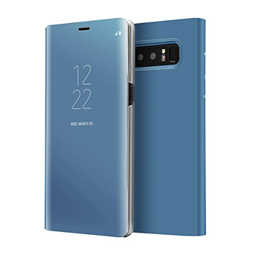 AICase Galaxy Note 8 Case, Luxury Translucent View Window Front Smart Sleep/Wake Up Function Mirror Screen Flip Electroplate Plating Stand Full Body Protective Case for Samsung Galaxy Note 8(Blue)