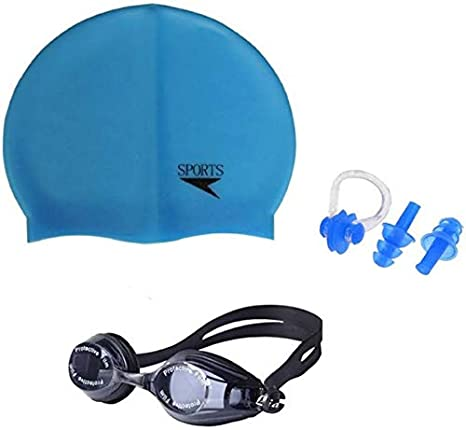 Credence Sports  Swimming Cap, Swimming Goggle, Set of Ear  amp; Nose Plug  Swimming Kit