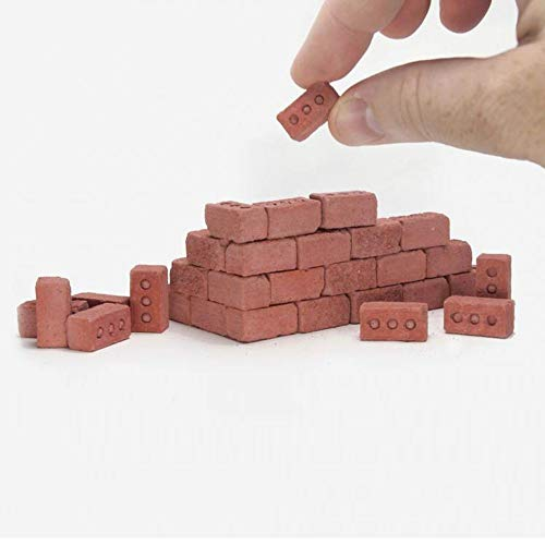 Hsada_Home Storage Ship from US - 32Pcs Mini Cinder Blocks - Mini Cement Cinder Bricks Build Your Own Tiny Wall - Fun Stacking Toy - Best Gift for Boys Girls Kids - 1/6 Scale - Red Bricks