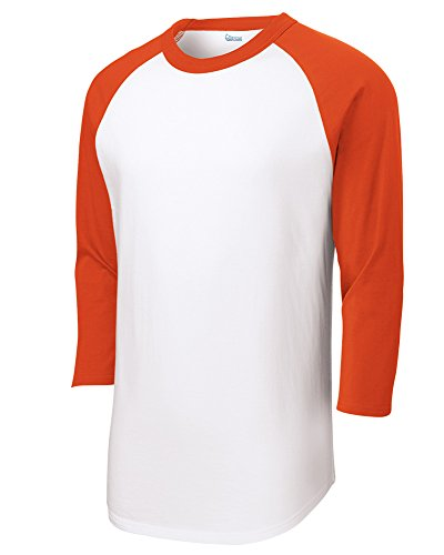 - Mens Or Youth 3/4 Sleeve 100% Cotton Baseball Tee Shirts Youth S to Adult 4X WH/ORN-XXL