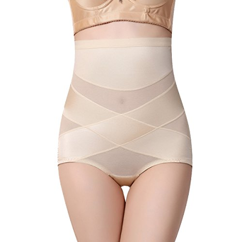 Transpirable Mujer Alta Cintura Abdomen Atractivo Levantar Las Caderas Esculpir El Cuerpo Cómodo Bragas 2 Pack Beige+Beige
