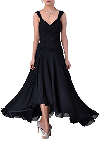 Mother Of The Bride Groom Dress Tea Length Formal Chiffon Special Occasion Bridesmaid, Color Black,6 (After Six Stretch Bridesmaid Dress)