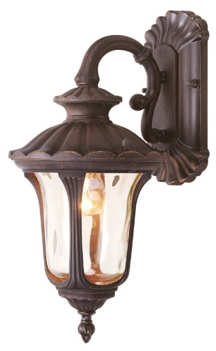 - Livex Lighting 7651-58 Oxford 1 Light Imperial Bronze Cast Aluminum Wall Lantern with Light Amber Water Glass