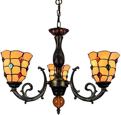 Cristal de lujo europeo de la lámpara 6 pulgadas Luz pendiente del estilo del vitral de Tiffany de la lámpara perlas coloridas cortinas de la lámpara de araña con 3 armas invertido lámpara de techo