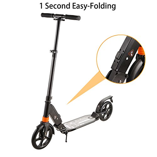 1-Second-Easy-Folding Adult Kick Scooter with Dual Suspension Shocks | 2 Big 200mm Wheels Commuting Push Cruiser Scooter with Carrying Strap for Kids Age 8 Up, Support 220lb Black