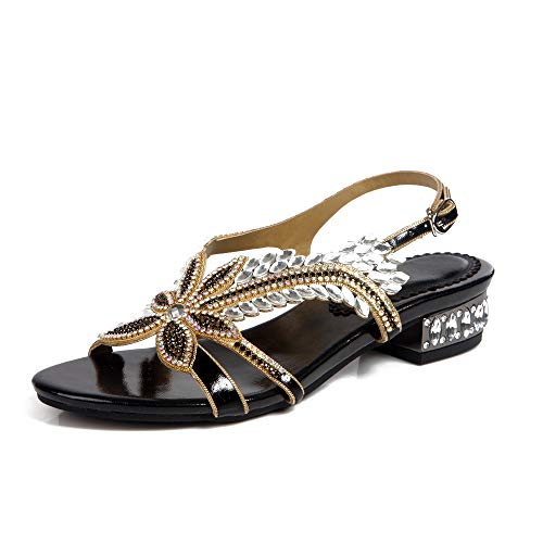 LHNX Womens Rhinestone Flat Sandals Jewelled Bling Flower Open Toe Flat Sandals Bridesmaid Wedding Evening Prom Party Dress Reception Sexy Beautiful High Heel Sandals,Black,37 ()