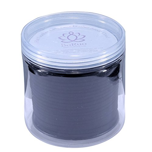BoRuo Micro-Fiber Flat Leather Lace Beading Thread Faux Suede Cord String Velet 100 Yard Roll Spool 3mm Black Color with Acrylic Jar