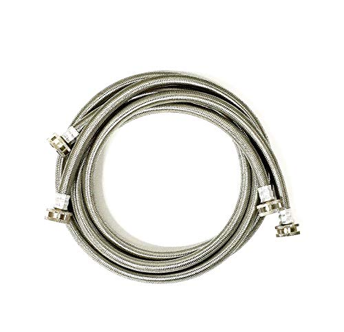 - 2-Pack Premium Stainless Steel Washing Machine Hoses - 5 FT No-Lead Burst Proof Water Inlet Supply Lines - Universal Connection - 10 Year Warranty