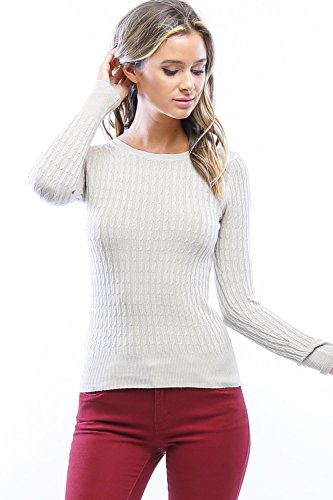 Califul Women's Long Sleeve Lightweight Crewneck Basic Cable Knit Classic Pullover Sweater (Small, SW04 Off White) Classic Cable Crewneck Sweater