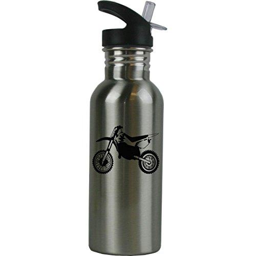 Motorcycle Bottle Water (Personalized Custom Dirt Bike Stainless Steel Water Bottle with Straw Top 20 Ounce Sport Water Bottle Customizable)