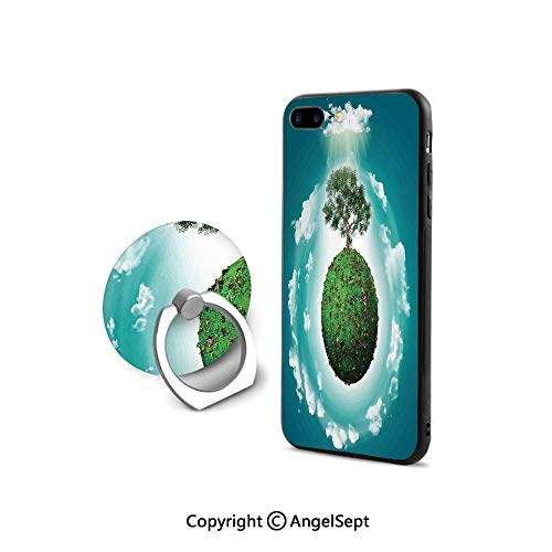 iPhone 7/8 Case with 360°Degree Swivel Ring,Grassy Globe World with Plant Clouds in Air Science Fiction Mother Earth,Shock-Absorption Bumper,Green Blue White