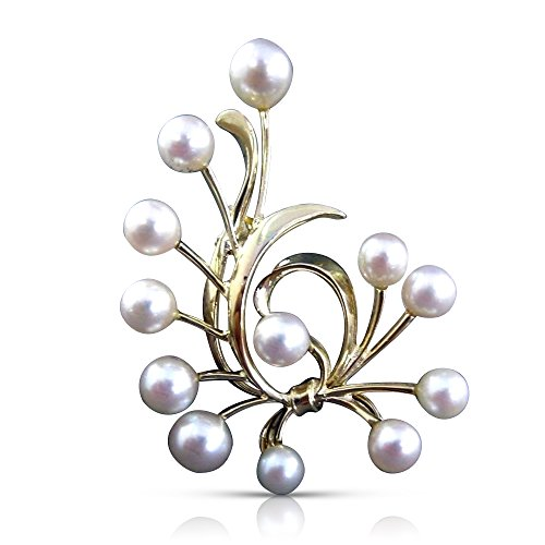 Milano Jewelers LARGE 14KT YELLOW GOLD MIKIMOTO AAA SOUTH SEA PEARL BOW PIN BROOCH -