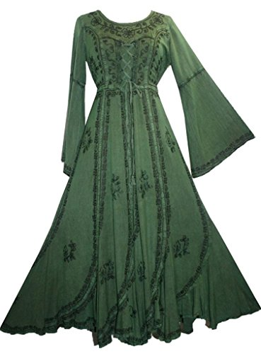 [205 DR Medieval Peasant Embroidered Vintage Dress [H Green; 3X]] (Green Medieval Dress)