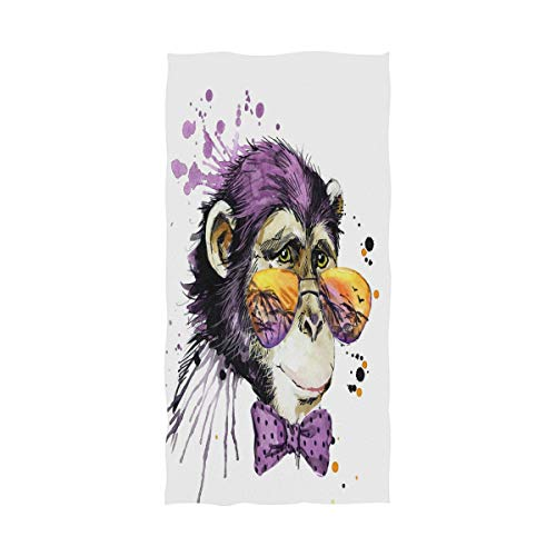 (Wamika Cool Monkey Oil Painting Bath Towels, Bow Animal Large Bathroom Towel Quick-Drying Towel for Hand Face Gym Spa for Teen Girls Adults Travel Pool Gym Use Home Decor 64)