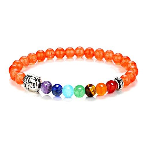 Orange Bracelets Genuine (BaiYunPOY Lava Rock Stone Essential Oil Diffuser Chakra Bead Bracelet - Natural Yoga Charms Bracelet Elastic Healing Balancing Crystal Beaded Bracelets (6MM Orange Stone))