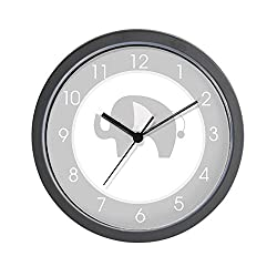 CafePress - Gray And White Modern Elephant Clock - Unique Decorative 10 Wall Clock
