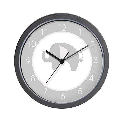 Elephant Clock - CafePress - Gray and White Modern Elephant Clock - Unique Decorative 10