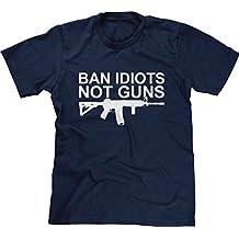 Blittzen Mens T-shirt Ban Idiots Not Guns