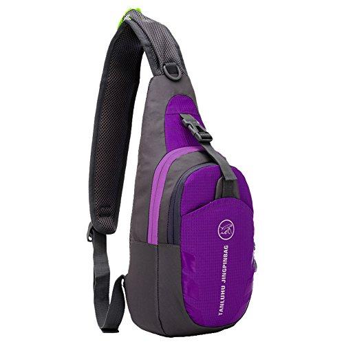 SLIN Ultralight (160G) Sport Chest Bag Sling Shoulder Unbalance Backpacks Crossbody Bag for Hiking Camping Gym Cycling Biking Dog Walking,Purple