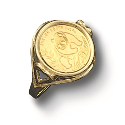14 Kt Solid Yellow Gold Coin Ring 24 Kt Chinese Panda Bear Coin (1502(Random Year Coin) - Gold Coin Ring