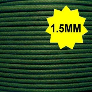 Waxed Cotton Thong Cord - Dark Green - C0045 / 1.5mm-1.8mm / 10 Mtrs
