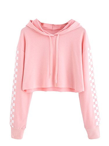 MAKEMECHIC Women's Pineapple Embroidered Hoodie Plaid Crop Top Sweatshirt Pink-1 M