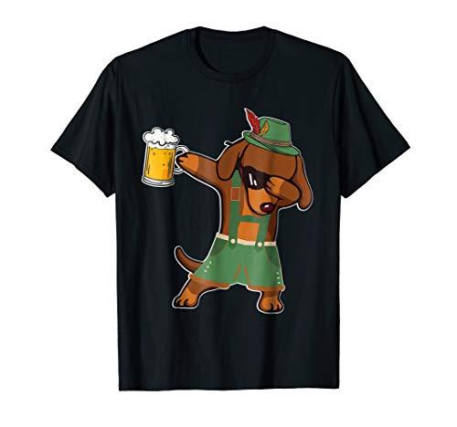 Dachshund Dog Oktoberfest Lederhosen Dabbing Beer Fun Tshirt