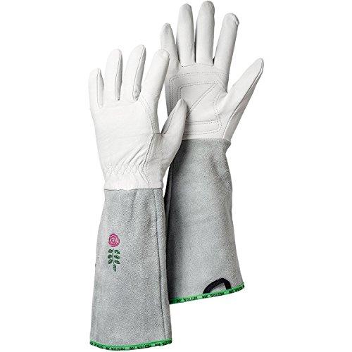 Hestra Garden Gloves: Womens Rose Outdoor Leather Work Gloves, Off White, 7