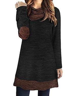 Women's Long Sleeve Drape Scarf Neck Patchwork Casual Tunic Sweater Shirts